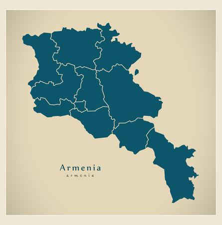 yerevan: Modern Map - Armenia with regions AM Illustration