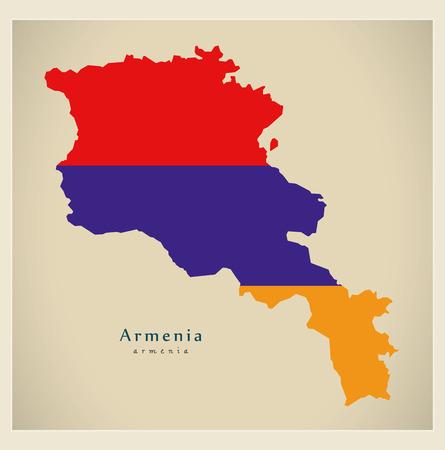 Modern Map - Armenia flag colored AM