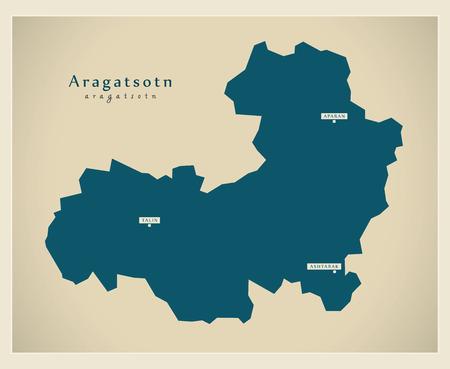 armenia: Modern Map - Aragatsotn AM