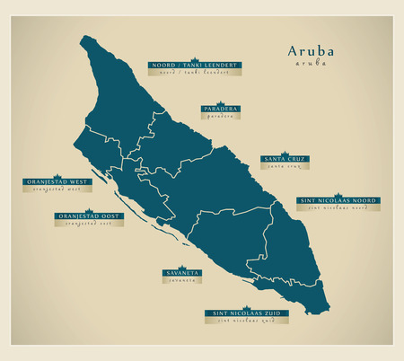 nicolaas: Modern Map - Aruba with regions details AW Illustration