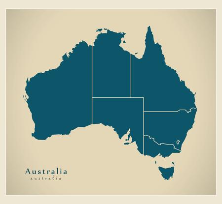 modernity: Modern Map - Australia with states AU Illustration