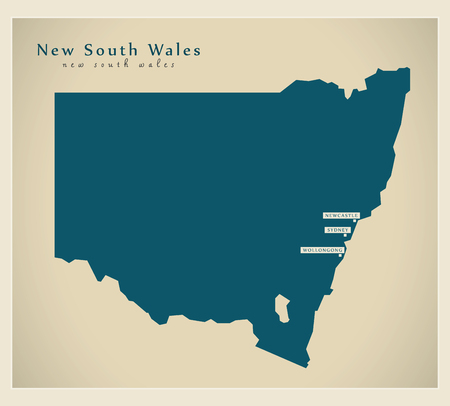 new south wales: Modern Map - New South Wales AU Illustration