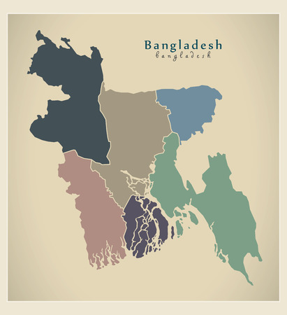 divisions: Modern Map - Bangladesh with divisions colored BD