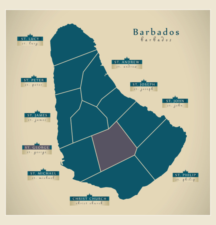 bb: Modern Map - Barbados with detailed parishes BB Illustration
