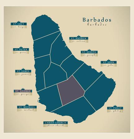 parish: Modern Map - Barbados with detailed parishes BB Illustration