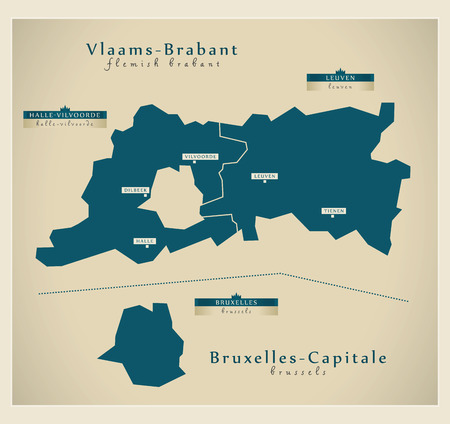 bruxelles: Modern Map - Vlaams-Brabant & Bruxelles-Capitale