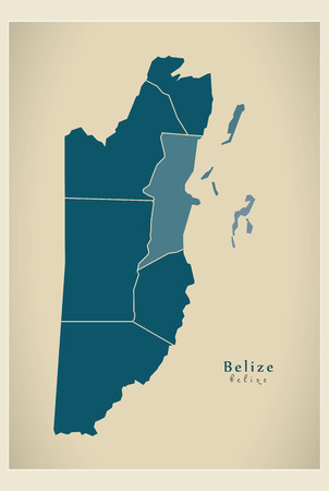 districts: Modern Map - Belize with districts BZ