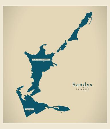 county somerset: Modern Map - Sandys BM Illustration