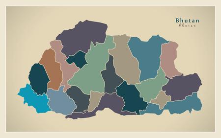 bhutan: Modern Map - Bhutan with districts colored BT