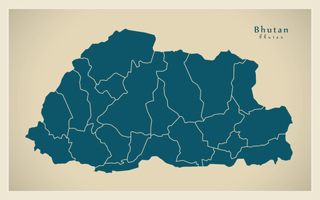 districts: Modern Map - Bhutan with districts BT