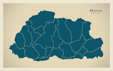 bhutan: Modern Map - Bhutan with districts BT