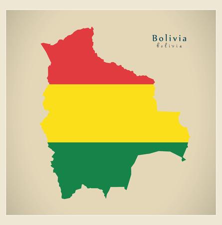 mapa de bolivia: Mapa moderna - Bolivia color BO