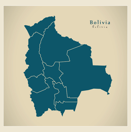 mapa de bolivia: Mapa moderna - Bolivia con los departamentos BO