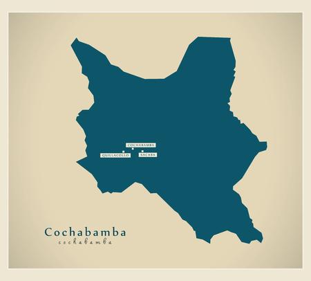 cochabamba: Modern Map - Cochabamba BO Illustration