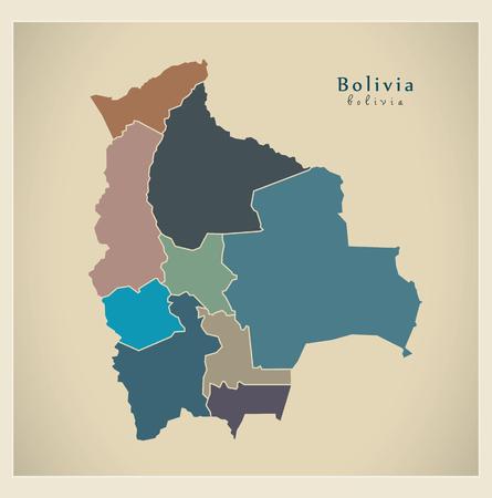 mapa de bolivia: Mapa moderna - Bolivia con los departamentos de color BO Vectores