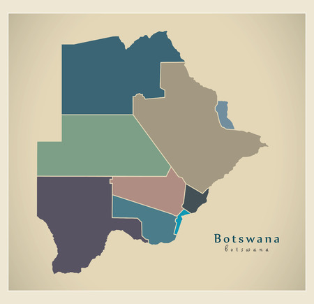 bw: Modern Map - Botswana with districts colored BW