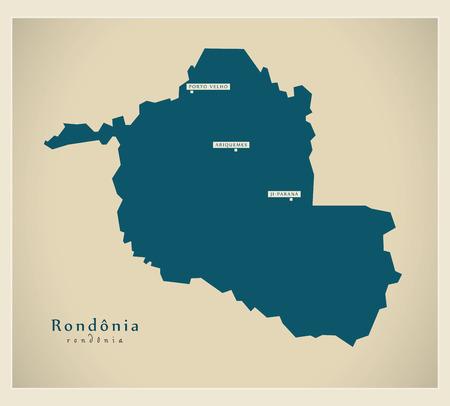 brasilia: Modern Map - Rondonia BR Illustration