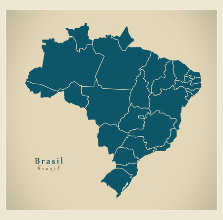 br: Modern Map - Brasil with districts BR Illustration