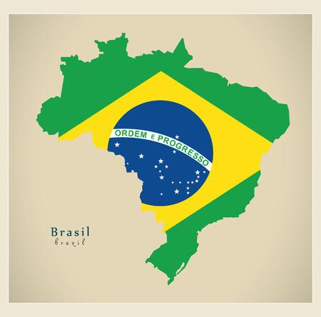 modernity: Modern Map - Brasil flag coloured BR Illustration