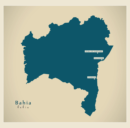 brasilia: Modern Map - Bahia BR Illustration