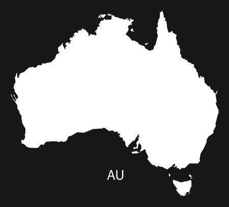black and white: Australia Map black white Illustration