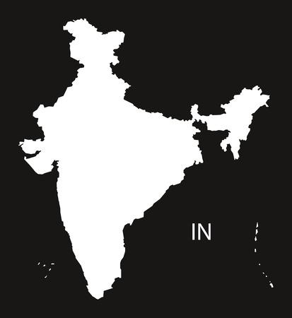 black and white: India Map  black white Illustration