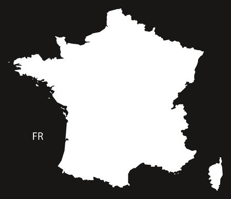 black and white: France Map  black white