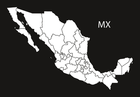 Mexico Map with federal states  black white Illustration