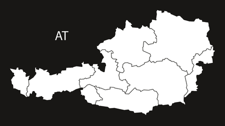 austria map: Austria Map with federal states  black white