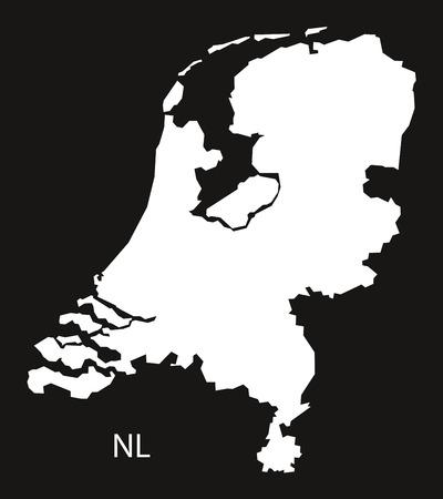 black and white: Netherlands Map  black white