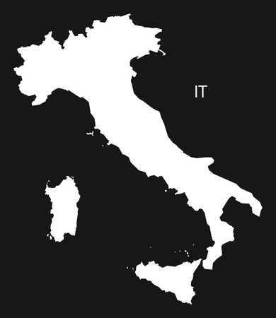 black and white: Italy Map black white Illustration