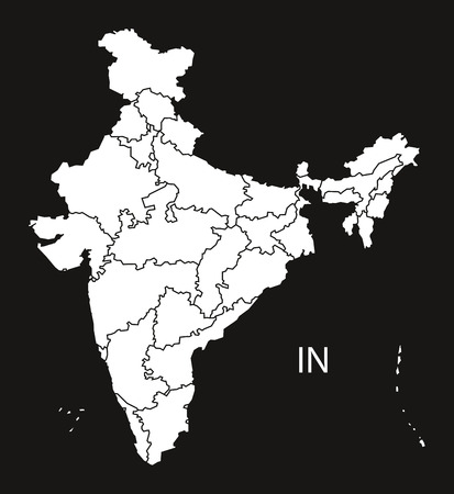 counties: India with provinces Map  black white Illustration