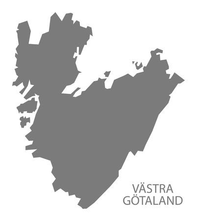 Vastra Gotaland Sweden Map grey Vettoriali