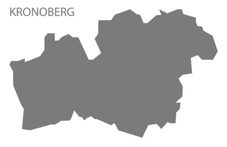 Kronoberg Schweden Karte grau Vektorgrafik