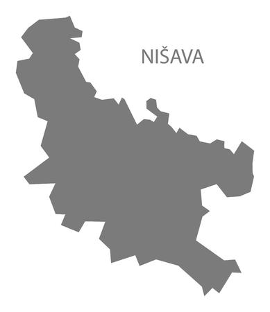 serbia: Nisava Serbia Map grey