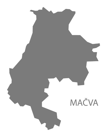 serbia: Macva Serbia Map grey