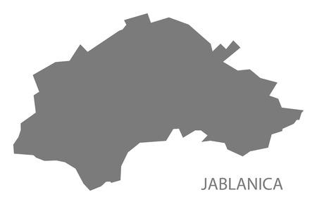 serbia: Jablanica Serbia Map grey