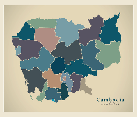provinces: Modern Map - Cambodia with provinces colored KH Illustration