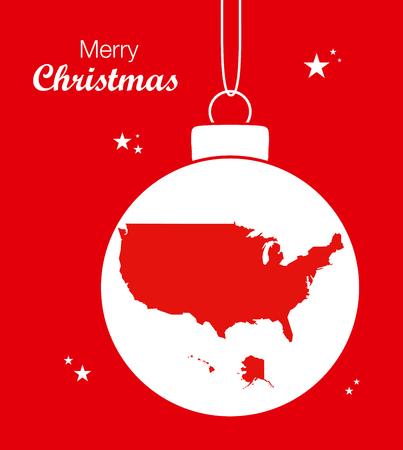 Merry Christmas Map USA