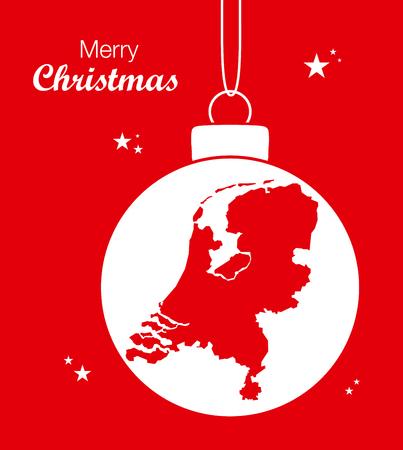 map of netherlands: Merry Christmas Map Netherlands Illustration