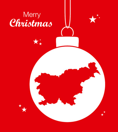 Merry Christmas Map Slovenia Illustration