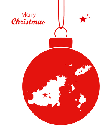 guernsey: Merry Christmas Map Guernsey Illustration