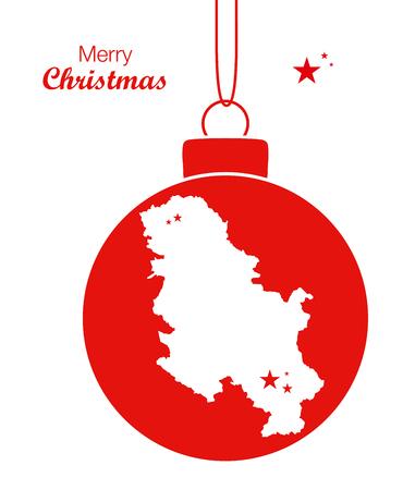 serbia: Merry Christmas Map Serbia