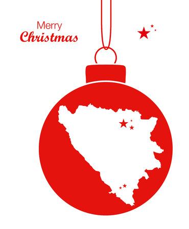 hercegovina: Merry Christmas Map Bosnia-Hercegovina Illustration
