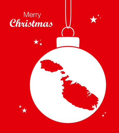 Merry Christmas Map Malta Illustration
