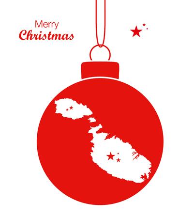 map malta: Merry Christmas Map Malta Illustration