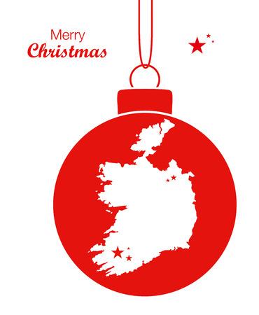 map ireland: Merry Christmas Map Ireland