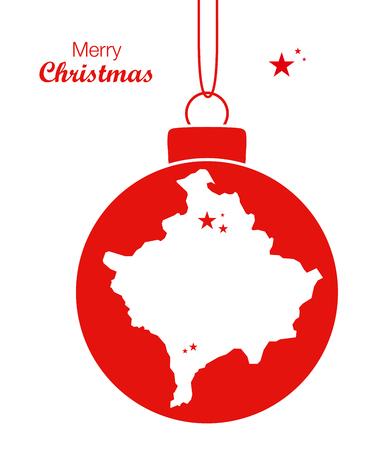 Merry Christmas Map Kosovo Illustration