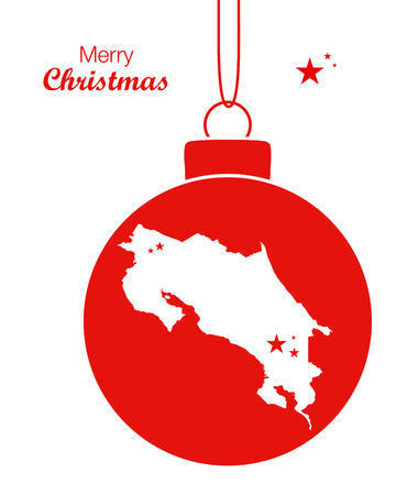 Merry Christmas Map Costa Rica