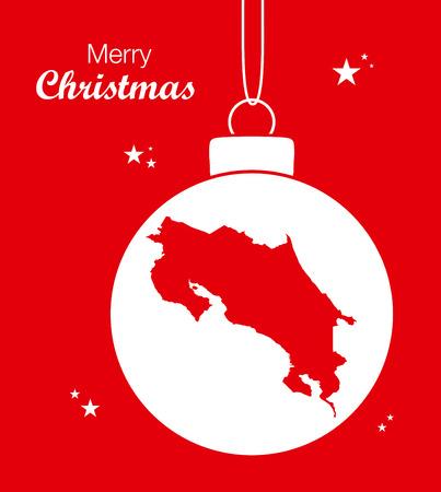 costa: Merry Christmas Map Costa Rica